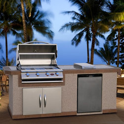 Cal Flame - Cal Flame 8 ft. BBQ Island with Gas Grill - White Ash Stucco - LBK-801-O - Shop for Grills from Hayneedle.com! Give your entertainment area a culinary makeover with the addition of the Cal Flame 8 ft. BBQ Island with Gas Grill - White Ash Stucco. This handsome unit offers a quality grill complete with side burner and refrigerator. Its generous countertop sits above an Ameristone stucco base. The grill features a stainless steel finish stainless steel wire grate and heavy duty components. Each knob operates a separate Piezo ignition for added convenience. The 4 burners offer up to 60 000 BTUs of cooking power. Below the grill is a spacious double door for added storage. A side burner offers extra cooking space while an included stainless steel refrigerator with 5 removable shelves and internal lighting keeps your food and beverages ready for entertaining.About Cal FlameCal Flame was founded in 2000 and has been building award-winning customized grill solutions ever since. This complete line of 304 stainless steel grills accessories fire pits and more works seamlessly together to provide a chef-level experience in your backyard. They're designed with experience and built for reliability and can be built into a custom island or dropped into a movable grill cart. Your configuration is entirely up to you go ahead design the outdoor kitchen of your dreams!