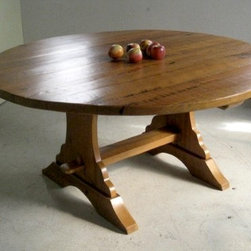 Trestle Table For Round Table - Made by http://www.ecustomfinishes.com