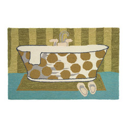 "Homefires - Vintage Tub Rug - ""Serenity now"" greets you wherever you choose to place  this wool-like, whimsical, bath time area rug. Contrasting neutral patterns bring a hint of fun while the tub itself beckons you to unwind."