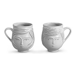 Jonathan Adler Utopia Boy/Girl Mug - Jonathan Adler Utopia: Reversible Boy/Girl Mug A reversible handcrafted brown stoneware mug with a sheer white glaze. A boy on one side and a girl on the other.Jonathan Adler pottery begins its life in our Soho studio, where Jonathan and his team design and sculpt every prototype. The product you are viewing is produced by skilled artisans at our main workshop in Peru. They make molds from our prototypes and then hand craft each piece from high-fired stoneware or porcelain. Our Peruvian workshop was found through Aid to Artisans, a non-profit organization that connects designers in America with artisans in developing countries to promote fair trade.