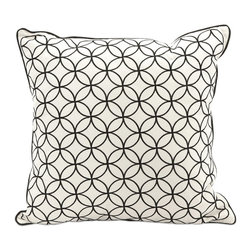 iMax - iMax Essentials Black Embroidered Pillow - Displaying a classic circular geometric pattern embroidered into the cotton cover and surrounded by trim, the Essentials black pillow coordinates with any Essentials by Connie Post collections.