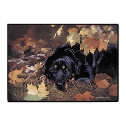 150-Rottweiler Doormat - 100% Polyester face, permanently dye printed & fade resistant, nonskid rubber backing, durable polypropylene web trim on the porch or near your back entrance to the house with indoor and outdoor compatible rugs that stand up to heavy use and weather effects
