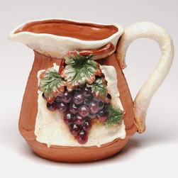 ATD - Hand Molded Clay Pitcher with Decorative Grape Fruit Design Finish - This gorgeous Hand Molded Clay Pitcher with Decorative Grape Fruit Design Finish has the finest details and highest quality you will find anywhere! Hand Molded Clay Pitcher with Decorative Grape Fruit Design Finish is truly remarkable.