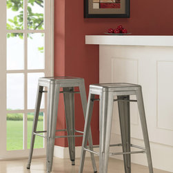 Dimensions - Tabouret 30-inch Metal Barstools (Set of 2) - Add modern industrial style to your casual dining space or home bar with this set of two contemporary metal barstools. With a silver powder-coated finish, these durable 30-inch stools wont damage your floor and stack for easy storage.