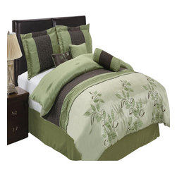 Bed Linens - Pasadena 11-Piece Bed in a Bag Queen Sage - The colors of this set are combination of light blue metallic and coffee with blue and brown floral stitching