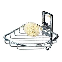 Toscanaluce - Polished Chrome Corner Wire Shower Basket - Unique, stylish wall mounted bathroom corner shower soap basket.