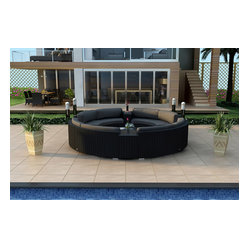 Urbana Eclipse 7-Piece Round Sectional Set, Charcoal Cushions