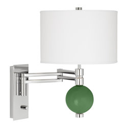 """Color Plus - Contemporary Garden Grove Niko Swing Arm Wall Lamp - From the Color + Plus™ lighting collection this swing arm wall lamp lets you add a sophisticated designer color accent to your home decorating. The lamp is custom-made by artisans in our California workshops. It features a designer Garden Grove color glass ball finial a stunning chrome finish and white drum shade. Installation is easy simply mount the lamp and plug in to any standard wall outlet. Swing arm wall lamp.Exclusive Garden Grove designer color. White poly cotton shade. Chrome finish. Easy plug-in style. Full-range dimmer. Maximum 100 watt or equivalent bulb (not included).18"""" high. 21"""" extension. Shade is 12"""" wide 8"""" high. Glass ball finial is 4 1/2"""" wide. Backplate is 9"""" high 3 1/2"""" wide.  Swing arm wall lamp.  Exclusive Garden Grove designer color.  White poly cotton shade.  Chrome finish.  Easy plug-in style.  Full-range dimmer.  Maximum 100 watt or equivalent bulb (not included).  18"""" high.  21"""" extension.  Shade is 12"""" wide 8"""" high.  Glass ball accent is 4 1/2"""" wide.  Backplate is 9"""" high 3 1/2"""" wide."""