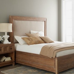 """Horchow - Estrada California King Bed - Create the ambiance of a coastal retreat just down the hall with this two-toned California king bed. Handcrafted of pine and white oak. Cerused-oak finish. Polyester/linen upholstered headboard with nailhead trim. 81.5""""W x 95""""D x 68""""T. Imported. ...."""