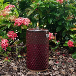 """Smart Solar - Apollo Ceramic Garden Torch - 13"""" H - Red Lava - Hand crafted 13""""H ceramic garden torch. Outdoor accent piece to line walkways or use as centerpiece. Glazed ceramic finish.. Aluminum cylinder with wick. Burns for approximately 1 hour per 1 ounce of lamp oil (not included). Can be used with citronella lamp oil to keep mosquitoes away. One year limited warranty. 7 in. Diameter x 13 in. HThe Apollo ceramic garden torch is an outdoor accent piece perfect for lining walkways or using as a centerpiece on a table. Create warmth and ambiance with this hand crafted fire pot with a unique Sierra Garden green glazed finish. It burns for approximately one hour per one ounce of lamp oil used. Cylinder includes wick."""