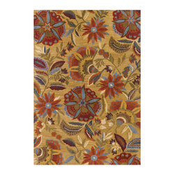 Couristan - Botanique Layla Rug 1084/0466 - 2' x 4' - Bold floral motifs can be mixed with other patterns, like stripes and even polka dots, to create an inviting, cozy-casual look. When using an area rug that acts as a central focal point, incorporate these other complimentary patterns on a smaller scale, like with pillow fabrics or as a subtle accent in draperies.
