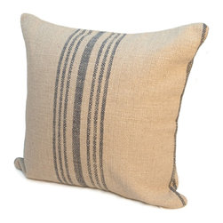 """Rennie & Rose - Rennie & Rose Hobie Stripe, Blue, 24""""x24"""" - The Rennie & Rose Island Pillow Collection adds high design to every home by using textures, colors and neutral palettes. Mix and match fine linen and cotton of our Hobie Stripe, Protégé Grid and Bernard Stripe patterns.  Create a casual yet sophisticated lifestyle statement!  Available in 18"""", 24"""", 12""""x 16"""" Lumbar Pillows.  Hidden zip pillow cover with poly insert.  Manufactured in USA."""