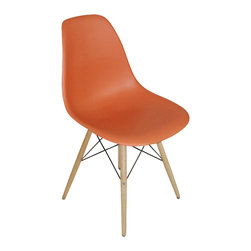 "2 Wood Eiffel Side Chairs, Orange - One of our most popular accent chairs now comes in wood base too! Its Eiffel shape is reminiscent of the original. The eiffel base chair has an ""Eiffel Tower"" style wood base and plastic shell seat. The retro simplicity of these classic accent chairs will instantly enhance the modernity of your room. Each of these contemporary accent chairs is made from durable molded plastic with an ergonomically-shaped and curved seat. The legs are wooden and include steel hardware in black as well as plastic tips to protect sensitive flooring."