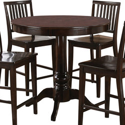 "Steve Silver Furniture - Steve Silver Candice Round Counter Table in Dark Espresso - The Candice collection offers country-style simplicity, transforming any dining area into a charming sanctuary. The dark espresso Candice counter height pedestal table features a beautifully turned base with a 42"" round top that will seat four comfortably. Add the Candice dark espresso counter height chairs to complete the look."