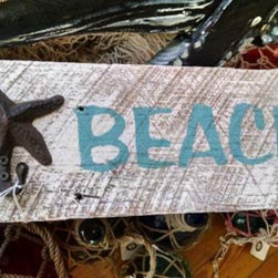 Nautical Decor - Thick wooden sign with a small hook for that very special set of keys!