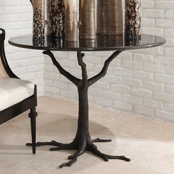 Faux Wood Dining Table Base - Faux wood dining table made from metal.