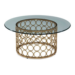Bassett Mirror Company - Bassett Mirror Carnaby Round Cocktail Table in Lux Gold & Goldleaf - Round Cocktail Table in Lux Gold & Goldleaf