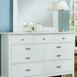 Vaughan Bassett - 7-Drawer Triple Dresser Set in Snow White Fin - Includes triple dresser and landscape mirror. Triple dresser:. 7 Drawers. 56 in. W x 18 in. D x 41 in. H. Landscape mirror:. Beveled glass. 35 in. L x 3 in. W x 39 in. H. Snow White finish. Assembly required