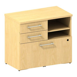 "Bush - Bush 300 Series Lower Piler and File Cabinet in Natural Maple - Bush - Filing Cabinets - 300SFP30AC - Don't let work pile up! Keep it handy and at your fingertips. Versatile go-anywhere BBF Mocha Cherry 300 Series 30""""W Piler/Filer Cabinet offers open and concealed storage. Two box drawers store office supplies and more. Open cubby with one adjustable shelf lets you stack books papers and more. Flexible multi-functional lateral file drawer holds letter- legal- or A4-size files. Solid sturdy top surface allows heavy loads without sagging. Hide unsightly wires cords and cables via wire management grommets. Easy-to-situate with adjustable levelers for stability on uneven floors. Tough edge banding resists dents dings nicks scrapes and collision impacts. Diamond Coat(TM) top surface is scratch/stain resistant. Mocha Cherry finish complements any office decor and matches other 300 Series pieces. Includes BBF Limited Lifetime warranty."