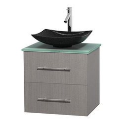 Wyndham Collection - 24 in. Single Bathroom Vanity in Gray Oak, Green Glass Countertop, Arista Black - Simplicity and elegance combine in the perfect lines of the Centra vanity by the Wyndham Collection . If cutting-edge contemporary design is your style then the Centra vanity is for you - modern, chic and built to last a lifetime. Available with green glass, pure white man-made stone, ivory marble or white carrera marble counters, with stunning vessel or undermount sink(s) and matching mirror(s). Featuring soft close door hinges, drawer glides, and meticulously finished with brushed chrome hardware. The attention to detail on this beautiful vanity is second to none.