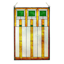 """Maclin Studio - Arts and Crafts Prairie Squares Green Art Glass Panel - Arts and Crafts Prairie Squares Green Art Glass Panel is hand made in the USA with a color palette of Greens, Gold Ambers and Frosted Clear. Ht: 20.5"""" W: 14"""". On this glass panel, enamel colors are individually applied to a single sheet of glass giving each panel unique aspects of both color and texture. The glass is then framed with a patinated metal cane and comes complete with mounting chain."""