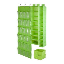 Honey Can DO - Closet Organizing Set - Lime, 4-Piece - The perfect closet organizing starter kit. Our lime green 4-piece closet organizing set includes one 6-shelf hanging organizer, one 20-pocket shoe organizer, one 10-shelf hanging organizer and one under bed storage bag. Warning: Your closet is about to get organized.