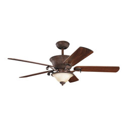 "Kichler - 56"" High Country 56"" Ceiling Fan Tannery Bronze with Gold Highlights - Kichler 56"" High Country Model KL-300010TZG in Tannery Bronze with Gold Highlights with Reverisble Light Cherry/Walnut Finished Blades."