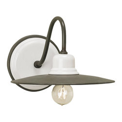 """Currey & Company Eastleigh Wall Sconce - There is a certain """"return to the basics"""" trend happening in California decor right now. This barn-light-esque sconce fits that description perfectly. It would be great above the sink or in the bathroom."""