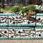 "Cinder Block Mosaic Planter - Upcycled mosaic herb garden planter with olive branch pattern. Approximate dimensions: Each block is 8"" square and 3.5"" high. The six blocks stacked together are approximately 24"" in length, 8' wide and 7.5"" high."