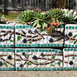 """Cinder Block Mosaic Planter - Upcycled mosaic herb garden planter with olive branch pattern. Approximate dimensions: Each block is 8"""" square and 3.5"""" high. The six blocks stacked together are approximately 24"""" in length, 8' wide and 7.5"""" high."""
