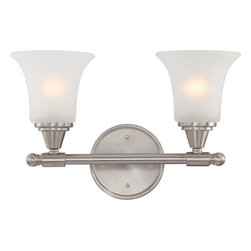 Nuvo Lighting - Surrey Two Light Bathroom Fixture With Frosted Glass In Brushed Nickel Finish - Surrey - 2 Light Vanity Fixture w/ Frosted Glass