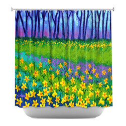 DiaNoche Designs - Shower Curtain Artistic - Spring Daffs II - DiaNoche Designs works with artists from around the world to bring unique, artistic products to decorate all aspects of your home.  Our designer Shower Curtains will be the talk of every guest to visit your bathroom!  Our Shower Curtains have Sewn reinforced holes for curtain rings, Shower Curtain Rings Not Included.  Dye Sublimation printing adheres the ink to the material for long life and durability. Machine Wash upon arrival for maximum softness. Made in USA.  Shower Curtain Rings Not Included.