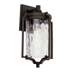 Trans Globe Lighting - Black Coastal Sea 16-Inch Wall Lantern with Clear Water Glass - - Enjoy outdoor breezes and coastal elements with water glass lanterns that add warm reflections across landscape and garden entry areas. Glass is open at bottom.  - 1 Light Wall Lantern  - Weather resistant cast aluminum  - Lantern attached to wall bracket and plate so it can withstand wind  - Clear water glass adds accent shadows to landscape and gardens  - Down direction bulb adds brighter light at entry area and porch  - Coastal inspired complete outdoor lighting collection  - Material; Cast Aluminum, Glass  - Bulbs not included Trans Globe Lighting - 40132 BK