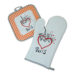 Provence Imports - Paris Bistro Cotton Oven Mitt and Pot Holder Set - Orange - This fun oven mitt and pot holder set includes the main monuments of Paris: the Arc de Triomphe, Sacré Coeur, Notre Dame and -- of course -- the Eiffel tower! Red hearts illustrate your feelings about the City of Lights. Printed in vibrant colors on soft cotton with a heat-resistant backing, this set is ready for work.