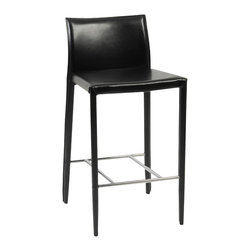Eurostyle - Shen-C Counter Chair (Set Of 2)-Blk - The party always ends up in the kitchen. You can be prepared by having these elegant counter chairs waiting for your guests. The exquisite design and sumptuous leather let others know that you have excellent taste in addition to being a good host.