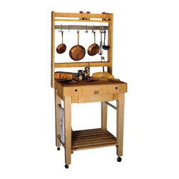 John Boos - Pro Prep Block w Pot Rack (30 in. x 24 in.) - Choose Size: 30 in. x 24 in.This total meal preparation work center comes complete with a solid wood cutting block and a rack for hanging pots, pans, and cooking utensils.  Keep everything right at hand with the convenient lower shelf, drawer, and towel bars.  Casters make it easy to move when desired.  Additional work space combined with a pot rack, storage shelves, a drawer and towel bars.  The sturdy butcher block top is a great work area for any kitchen, offering easy clean up and practical space. * Hanging. Made from wood and stainless steel. Rectangular. 24 in. L x 24 in. W. 30 in. L x 24 in. W. 30 in. L x 24 in. W. 30 in. L x 30 in. W. 36 in. L x 24 in. W. Maple pot rack with stainless steel bar and hooks. 36 in. high stands. Solid hard maple with end grain work surface with beeswax block. 4 in. thick butcher block. Maple slatted undershelf. Optional utensil drawer available for 30 in. and 36 in. pot rack. Two 1.25 round stainless steel towel barsIf you need storage in your kitchen, then you need this prep block!  It comes with an optional pot rack to store pots, pans, and larger utensils, as well as a utensil drawer for your odds and ends.  The lower shelf is the perfect place to store larger items, and the top of the cart makes a great cutting board!