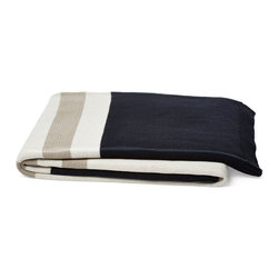 5 Surry Lane - Luxury Cotton Knit Stripe Throw/Blanket, Navy/Gray - As thick and cozy as a favorite sweater, our striped cotton knit throw adds irresistible warmth to a bed or armchair.