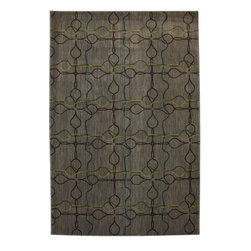 Mohawk Home - Mohawk Intermezzo Venetian Tile Grey Contemporary 5'3 x 7'10 Rug (9883) - Highlights of yellow, make this simple geometric pattern pop. Unsurpassed in quality and style without sacrificing affordability, Mohawk Home