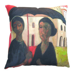 Roweboat Art Inc. - Two Ladies With Umbrella, Antique Reproduction On Linen Pillow, 18x18 - Original art on linen fabric