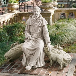 Design Toscano In Natures Sanctuary St. Francis Garden Statue - Add a sense of grace and compassion to any garden with the In Natures Sanctuary St. Francis Garden Statue. This statue is crafted from high-quality resin and given a realistic stone finish. It depicts St. Francis sitting on a log tending his animal companions.About Design Toscano: Design Toscano is the country's premier source for statues and other historical and antique replicas, which are available through our catalog and website.We were named in Inc. magazine's list of the 500 fastest growing privately-held companies for three consecutive years - an honor unprecedented among catalogers.Our founders, Michael and Marilyn Stopka, created Design Toscano in 1990. While on a trip to Paris, the Stopkas first saw the marvelous carvings of gargoyles and water spouts at the Notre Dame Cathedral. Inspired by the beauty and mystery of these pieces, they decided to introduce the world of medieval gargoyles to America in 1993. On a later trip to Albi, France, the Stopkas had the pleasure of being exposed to the world of Jacquard tapestries that they added quickly to the growing catalog. Since then, our product line has grown to include Egyptian, Medieval and other period pieces that are now among the current favorites of Design Toscano customers, along with an extensive collection of garden fountains, statuary, authentic canvas replicas of oil painting masterpieces, and other antique art reproductions.At Design Toscano, we pride ourselves on attention to detail by traveling directly to the source for all historical replicas. Over 90% of our catalog offerings are exclusive to the Design Toscano brand, allowing us to present unusual decorative items unavailable elsewhere. Our attention to detail extends throughout the company, especially in the areas of customer service and shipping.