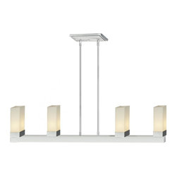 Four Light Chrome Matte Opal Glass Island Light - This geometrically inspired four light pendant uses rectangular matte opal shades in combination with rectangular inspired chrome hardware to create a boldly contemporary statement. Adjustable rods are included to ensure the perfect hanging height.