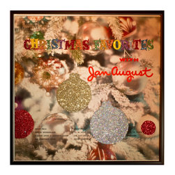 """Glittered Christmas Favorites Album - Glittered record album. Album is framed in a black 12x12"""" square frame with front and back cover and clips holding the record in place on the back. Album covers are original vintage covers."""