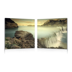 """Wholesale Interiors - Unbridled Power Mounted Photography Print Diptych - The arresting beauty in the sheer power of these thunderous falls is perfectly depicted in this two-piece photography wall art set. A diptych, two MDF frames each display half of the image on pieces of waterproof vinyl canvas. The Unbridled Power Modern Wall Art is made in China and comes fully assembled and ready to hang, though hardware for mounting to your wall is not included. To clean, simply wipe the frames with a dry cloth. Product dimension: 19.68""""W x 1""""D x 19.68""""H."""