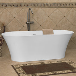 """64"""" Neva Resin Freestanding Tub - Perfect for your contemporary bathroom, the spacious Neva Resin Freestanding Tub features a simple, hourglass shape."""