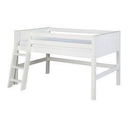 Camaflexi - White Panel Low Loft Bed - Maximize small spaces with this bed frame that creates extra room for storage and play. Made from solid wood, it features guardrails, a grooved step ladder and a slat-roll foundation with a center-rail support system for incredible durability.   Weight capacity: 750 lb. Mattress not included 52'' W x 48.5'' H x 80.5'' D Wood Assembly required Imported