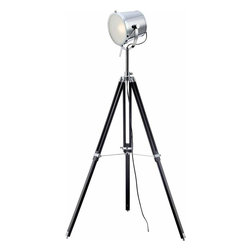 Lite Source - Lite Source Trey Transitional Tripod Floor Lamp XSL-73328 - The Trey floor lamp features adjustable metal tripod legs in chrome and black finish. The chrome finish metal spotlight style head features a frosted glass diffuser, which provides ample task or reading light that's energy efficient.