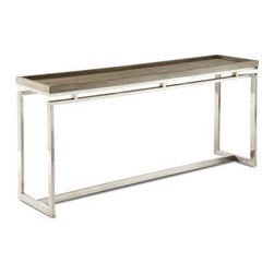 Brownstone Furniture Pierce Console Table - The Pierce, a collection of tables that blend the refinement of exceptional design with a tasteful combination of fine materials. Richly grained tray style oak tops rest above magnificent stainless steel bases.