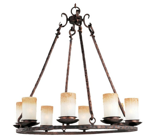 Joshua Marshal - Eight Light Oil Rubbed Bronze Wilshire Glass Candle Chandelier - Eight Light Oil Rubbed Bronze Wilshire Glass Candle Chandelier
