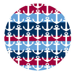 """WallPops - Regatta Dots Wall Decal - These anchor wall decals are classic and cool in red, white and blue. Bring a nautical theme to bathroom wall decor, or design a maritime inspiration in a kids room with these stylish anchor dots. This pack comes with four 13"""" x 13"""" Dots."""
