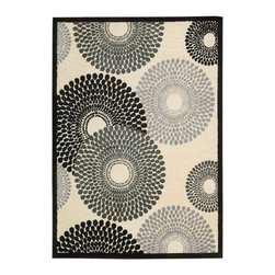 """Nourison - Nourison Graphic Illusions GIL04 2'3"""" x 3'9"""" Parchment Area Rug 11810 - Interlocking tri-tone spheres of charcoal, black, and smoke hover over an understated background that's strikingly bordered in black, as they swirl together in a study of harmonious contrasts. Dynamic, graphic and replete with the exquisite texture of high-loop pile construction and gorgeous hand carving, this rug represents the height of approachable modernity."""